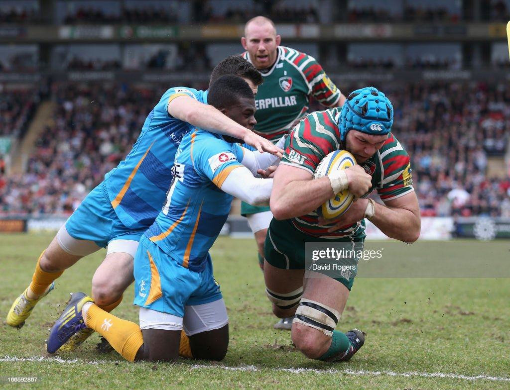 Graham Kitchener of Leicester dives over for the second try during the Aviva Premiership match between Leicester Tigers and London Wasps at Welford Road on April 14, 2013 in Leicester, England.