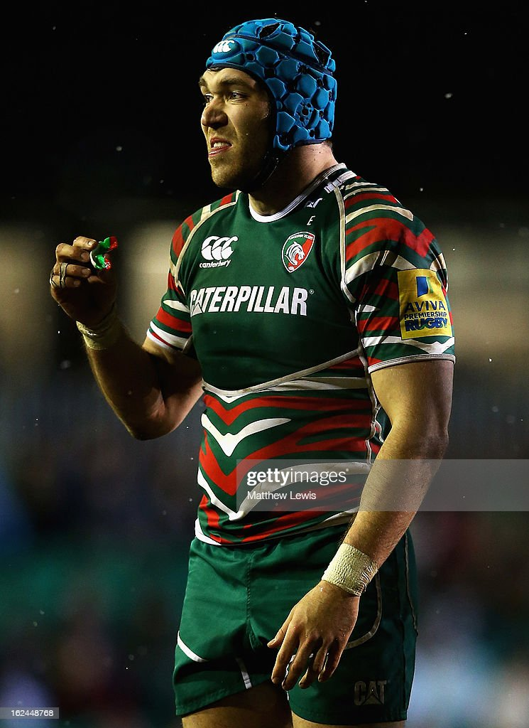 Graham Kitchener of Leicester in action during the Aviva Premiership match between Leicester Tigers and Saracens at Welford Road on February 23, 2013 in Leicester, England.