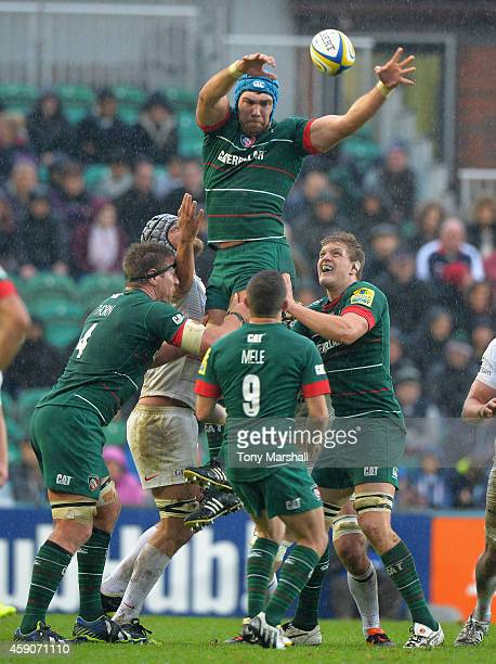 Graham Kitchener of Leicester Tigers collects the ball in the line out during the Aviva Premiership match between Leicester Tigers and Saracens at...