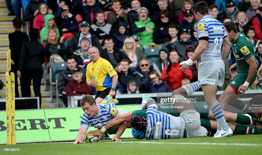 Graham Kitchener of Leicester Tigers reaches over for a try during the Aviva Premiership match between Leicester Tigers and Saracens at Welford Road on May 10, 2014 in Leicester, England.