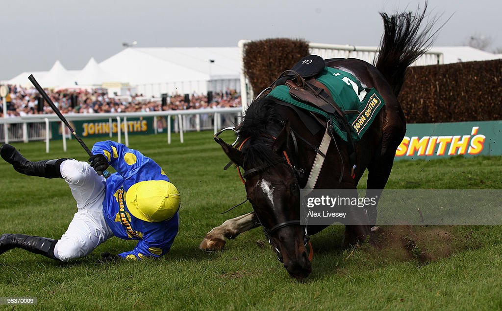 Graham Lee falls from his mount Bedlam Boy after taking the last fence in The John Smith's Maghull Novices' Steeple Chase at Aintree Racecourse on...