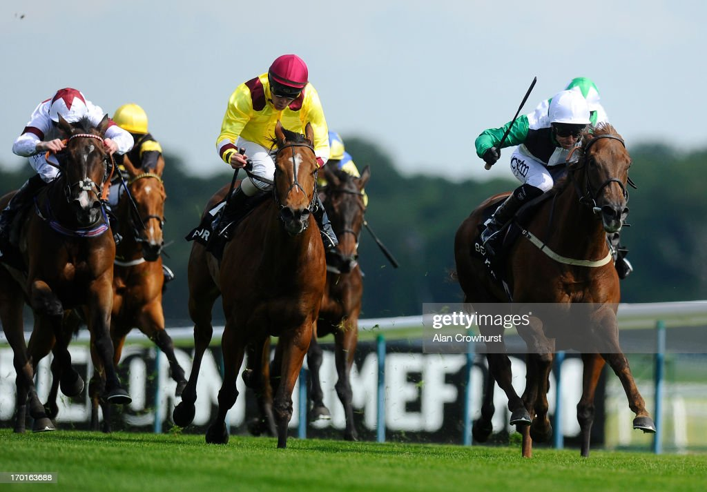 Graham Lee riding Artistic Jewel win The BetVictorcom EBF Cecil Frail Stakes at Haydock racecourse on June 08 2013 in Haydock England