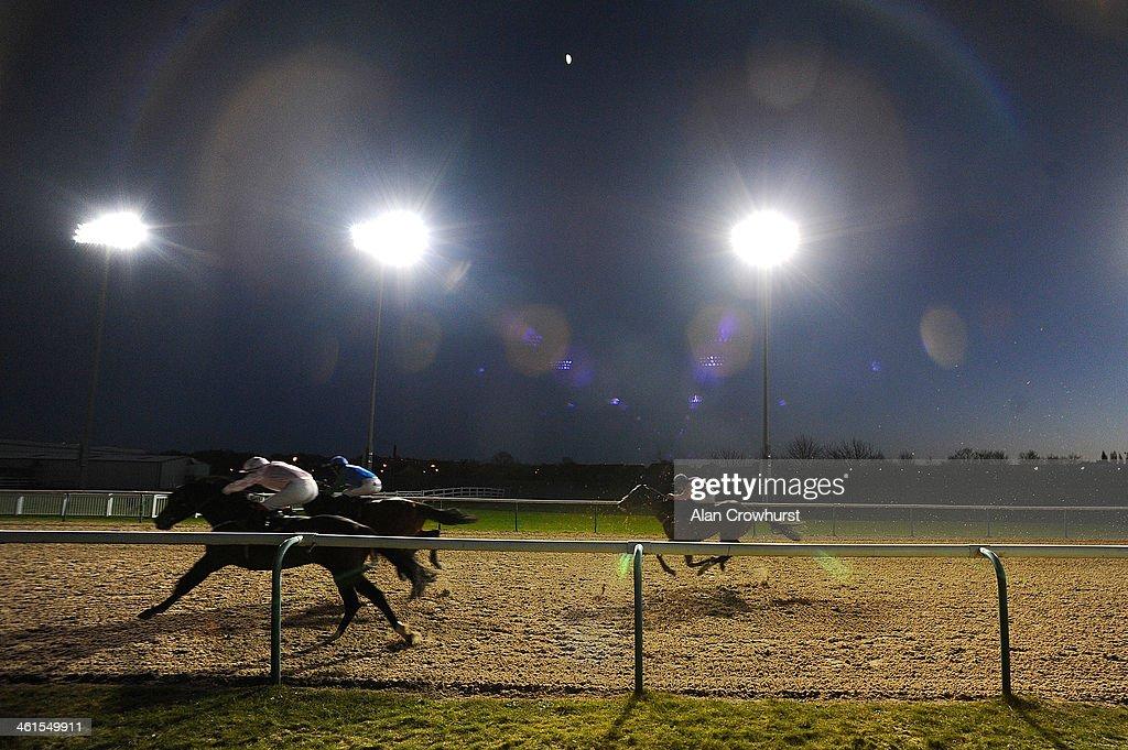 Graham Lee riding Big Baz win in The Ladbrokes Handicap Stakes at Wolverhampton racecourse on January 09 2014 in Wolverhampton England