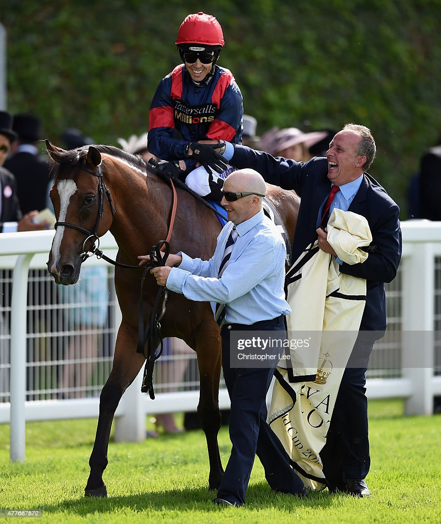 Graham Lee riding Trip To Paris celebrates his victory in The Gold Cup during Day 3 of Royal Ascot 2015 at Ascot Racecourse on June 18 2015 in Ascot...