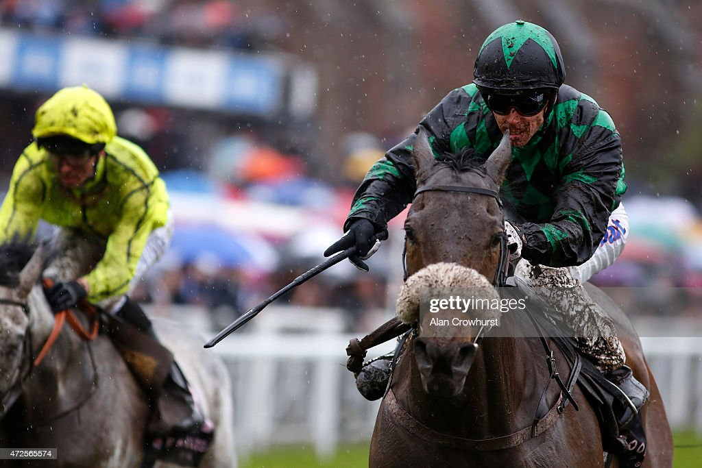 Graham Lee ridng Clever Cookie win The Boodles Diamond Ormonde Stakes from Tac De Boistron at Chester racecourse on May 08 2015 in Chester England