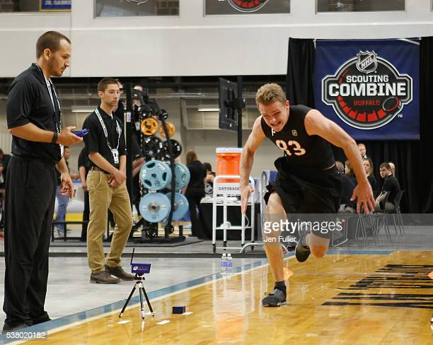 Graham McPhee does the Pro Agility test during the NHL Combine at HarborCenter on June 4 2016 in Buffalo New York