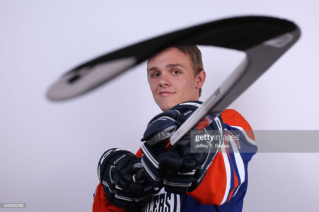 Graham McPhee poses for a portrait after being selected 149th overall by the Edmonton Oilers during the 2016 NHL Draft on June 25, 2016 in Buffalo, New York.