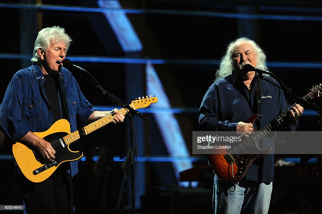 Graham Nash and David Crosby of Crosby Stills and Nash perform onstage at the 25th Anniversary Rock Roll Hall of Fame Concert at Madison Square...