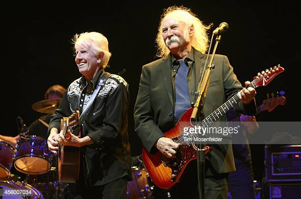 Graham Nash and David Crosby of Crosby Stills Nash perform at Red Rocks Amphitheatre on September 23 2014 in Morrison Colorado