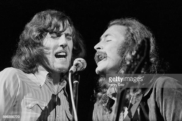 Graham Nash and David Crosby of Crosby Stills Nash perform at the free Woodstock Music and Art Fair The festival took place on Max Yasgur's dairy...