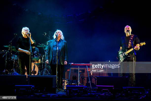 Graham Nash and David Crosby of Crosby Stills Nash perform with David Gilmour at the Royal Albert Hall on September 23 2015 in London England