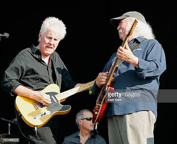 Graham Nash and David Crosby of CSN perform at Day 3 of Hard Rock Calling at Hyde Park on June 27 2010 in London England