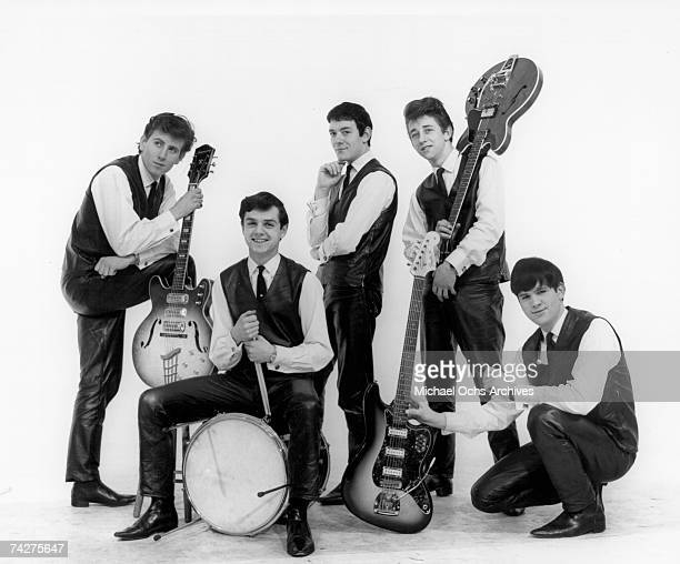 Graham Nash Don Rathbone Allan Clarke Tony Hicks and Bernie Calvert of the rock group 'The Hollies' pose for a portrait in 1962