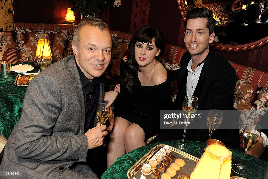 Graham Norton, Alexandra Roach and Trevor Patterson attend a private dinner hosted by Tom Ford to celebrate his runway show during London Collections: MEN AW13 at Loulou's on January 9, 2013 in London, England.