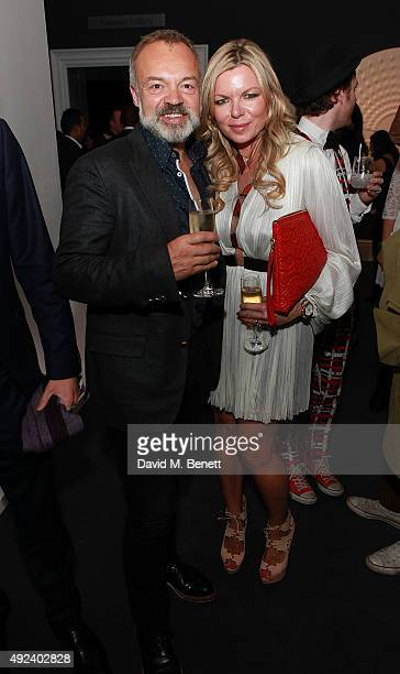 Graham Norton and Fru Tholstrup attend The Contemporary Art Party hosted by Tommy Hilfiger Dylan Jones and the directors of Sotheby's at Sotheby's on...