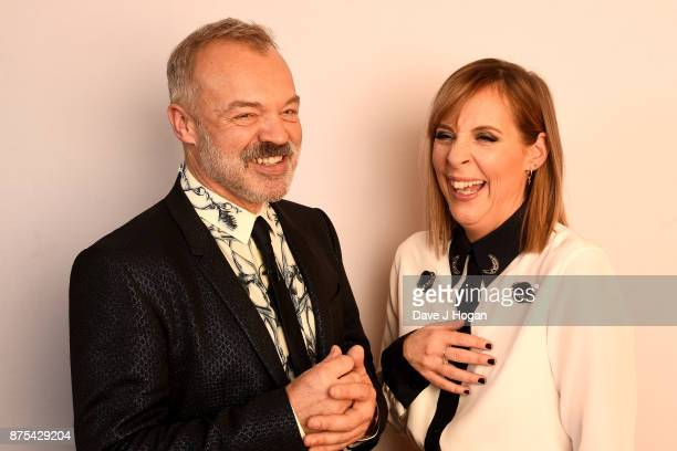 Graham Norton and Mel Giedroyc show support for BBC Children in Need at Elstree Studios on November 17 2017 in Borehamwood England