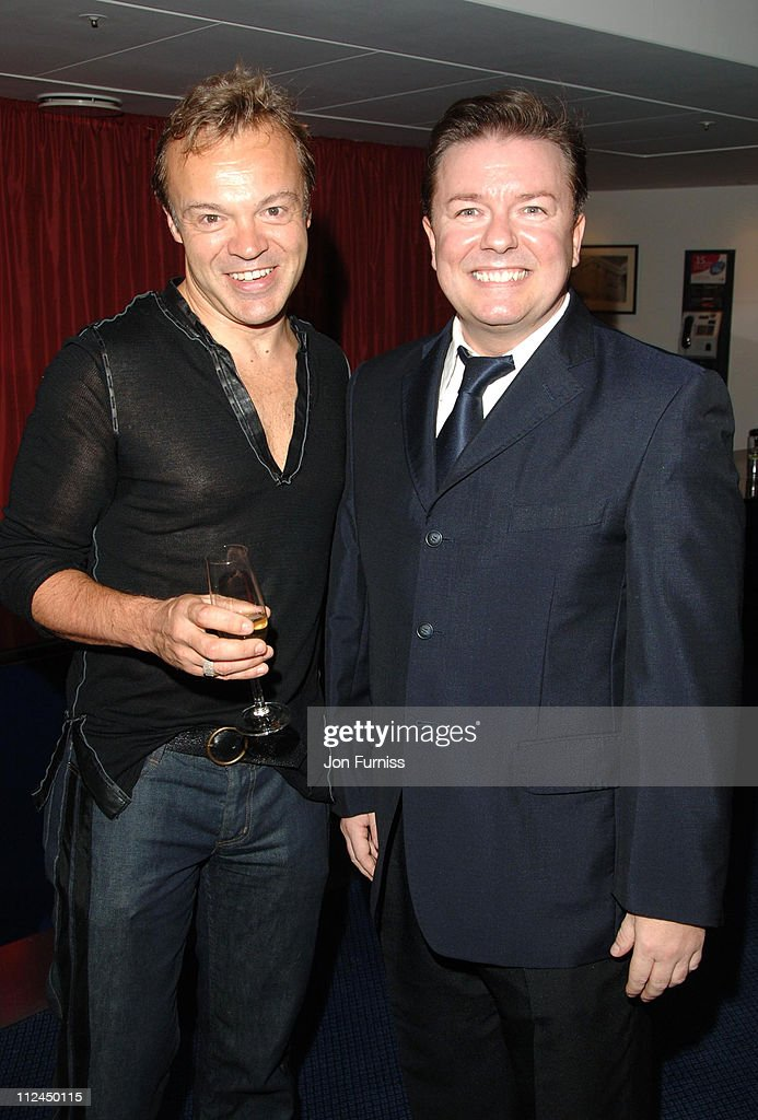 <a gi-track='captionPersonalityLinkClicked' href=/galleries/search?phrase=Graham+Norton&family=editorial&specificpeople=206423 ng-click='$event.stopPropagation()'>Graham Norton</a> and <a gi-track='captionPersonalityLinkClicked' href=/galleries/search?phrase=Ricky+Gervais&family=editorial&specificpeople=209237 ng-click='$event.stopPropagation()'>Ricky Gervais</a> during GQ Men of the Year Awards - Drinks Reception at Royal Opera House in London, Great Britain.
