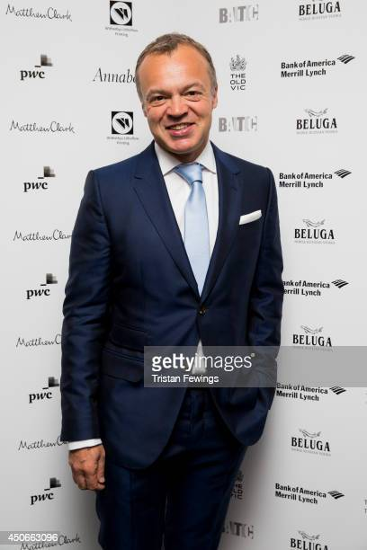 Graham Norton arrives at the Baltic Bar and Restaurant ahead of The Old Vic's Clarence Darrow Final Night Gala on June 15 2014 in London England