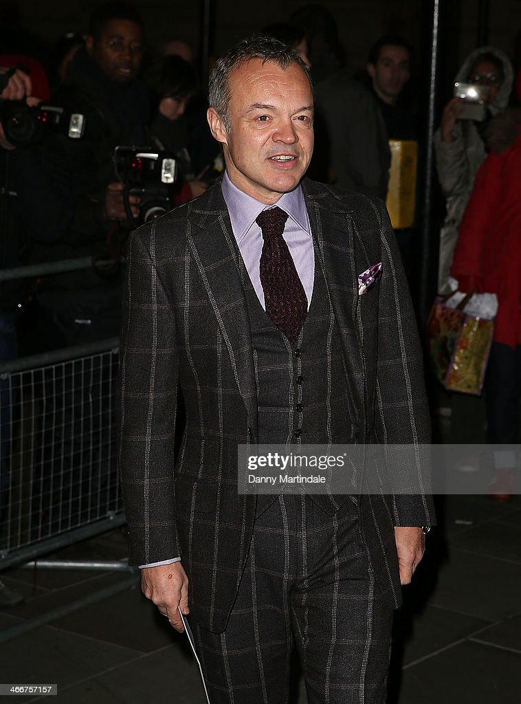 <a gi-track='captionPersonalityLinkClicked' href=/galleries/search?phrase=Graham+Norton&family=editorial&specificpeople=206423 ng-click='$event.stopPropagation()'>Graham Norton</a> attends the VIP private view of David Bailey: Bailey's Stardust at National Portrait Gallery on February 3, 2014 in London, England.