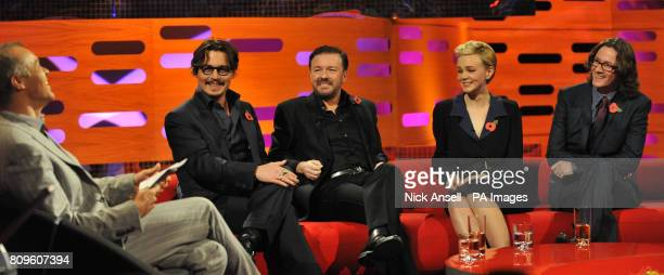 Graham Norton Johnny Depp Ricky Gervais Carey Mulligan and Ed Byrne during the filming of the Graham Norton Show at The London Studios south London...