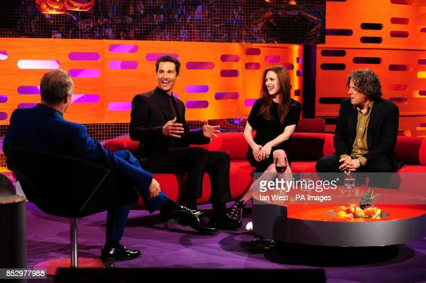 Graham Norton Matthew McConaughey Julianne Moore and Alan Davies during the filming of the Graham Norton Show at The London Studios south London to...