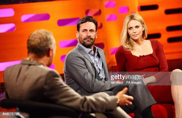 Graham Norton with Jon Hamm and Charlize Theron on the Graham Norton show at the London Studios in London