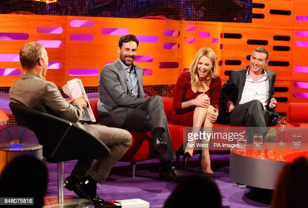 Graham Norton with Jon Hamm Charlize Theron and Steve Coogan on the Graham Norton show at the London Studios in London