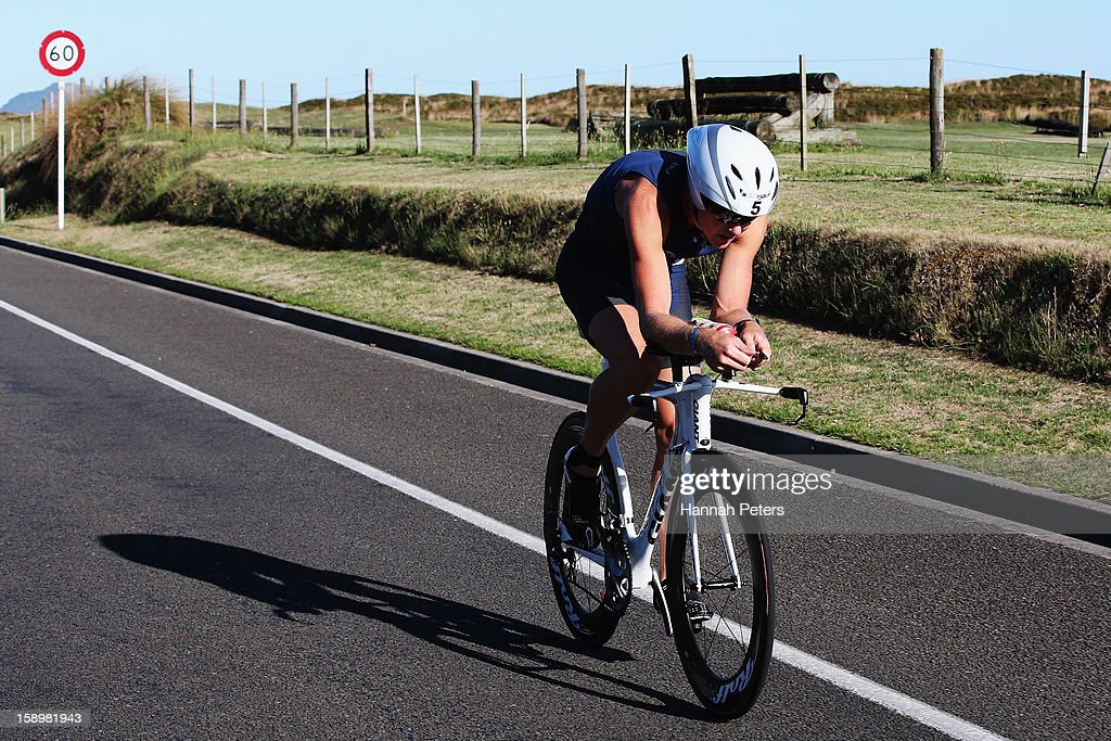 Graham O'Grady of Kinloch competes in Elite Men's race during the Port of Tauranga Half Ironman on January 5, 2013 in Tauranga, New Zealand.