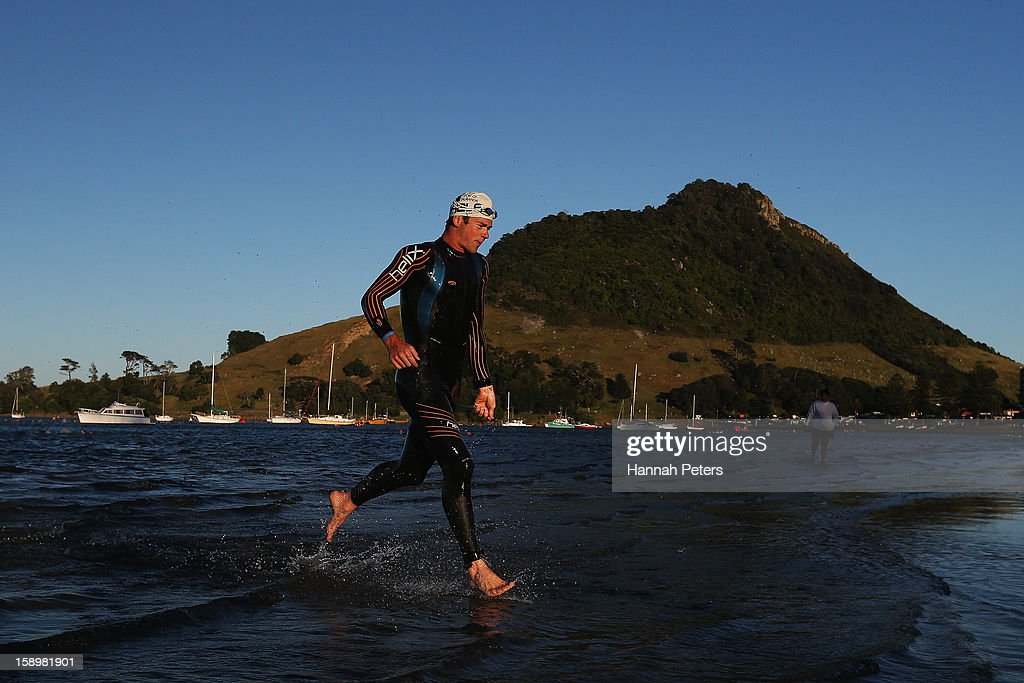Graham O'Grady of Kinloch competes in the Port of Tauranga Half Ironman on January 5, 2013 in Auckland, New Zealand.