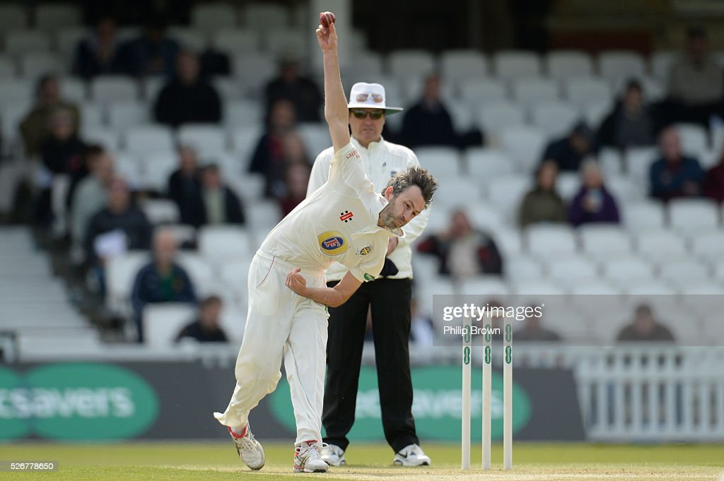 Graham Onions of Durham bowls during day one of the Specsavers County Championship Division One match between Surrey and Durham at the Kia Oval on May 1, 2016 in London, England.