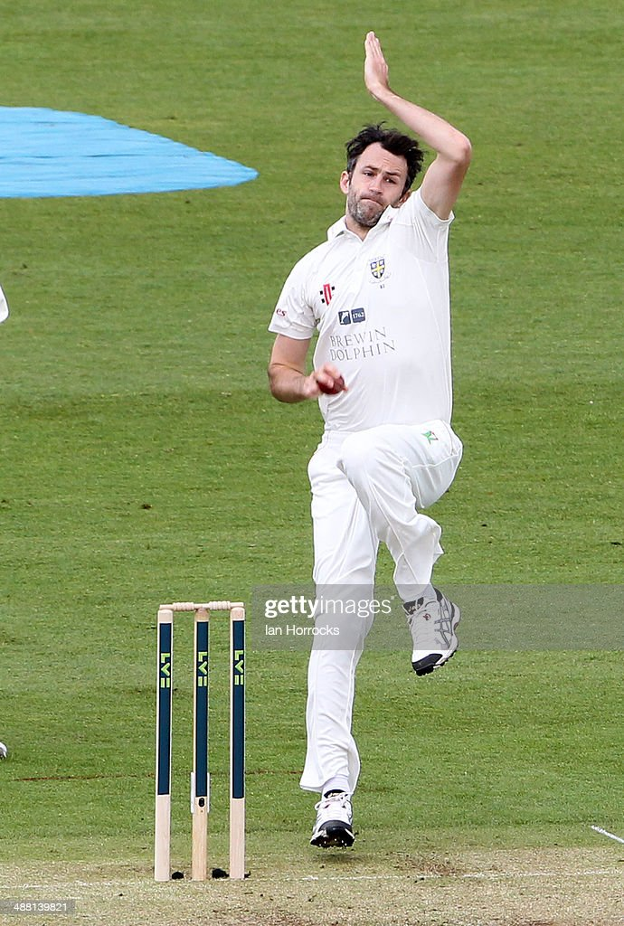 Graham Onions of Durham bowls during the LV County Championship match between Durham CCC and Yorkshire CCC at The Emirates Durham ICG on May 04 2014...