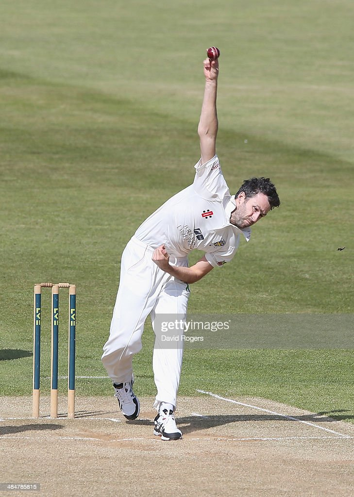 Graham Onions of Durham bowls during the second day of the LV County Championship Division One match between Northamptonshire and Durham at the...