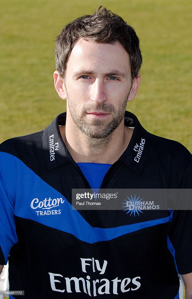 Graham Onions of Durham CCC wears the FriendsLife T20 kit during a pre-season photocall at The Riverside on April 3, 2013 in Chester-le-Street, England.