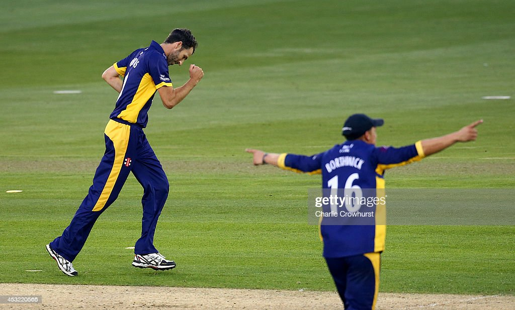 Graham Onions of Durham celebrates taking the wicket of Matt Machan of Sussex during Royal London OneDay Cup match between Sussex Sharks and Durham...