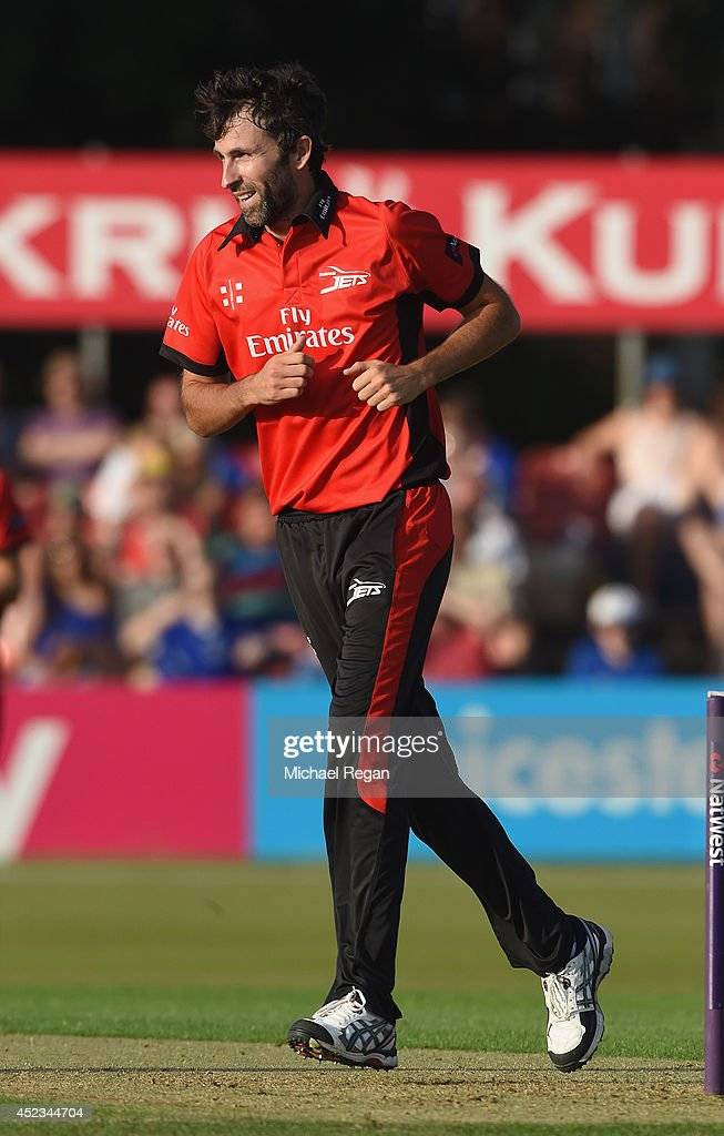 Graham Onions of Durham celebrates the wicket of Greg Smith during the Natwest T20 Blast match between Leicestershire Foxes and Durham Jets at Grace...