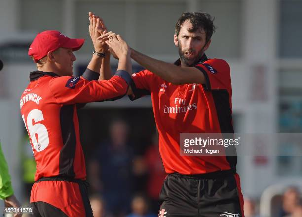 Graham Onions of Durham celebrates the wicket of Greg Smith with team mate Scott Borthwick during the Natwest T20 Blast match between Leicestershire...
