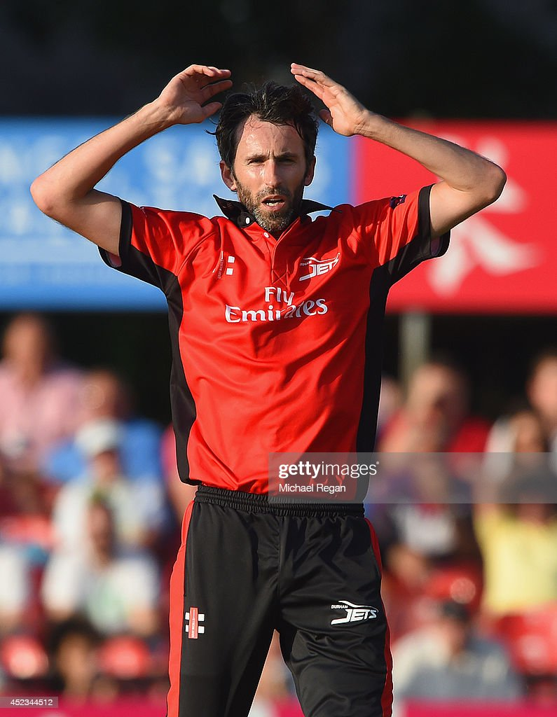 Graham Onions of Durham looks on during the Natwest T20 Blast match between Leicestershire Foxes and Durham Jets at Grace Road on July 18 2014 in...