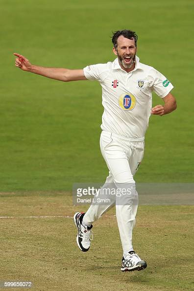 Graham Onions of Durham reacts after dismissing Andrew Gale of Yorshire during the Specsavers County Championship Division One match between...