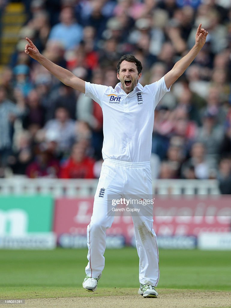 Graham Onions of England celebrates dismissing Narsingh Deonarine of the West Indies during day three of the third Investec Test match between...