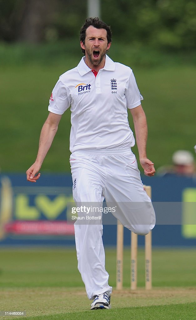 Graham Onions of England Lions shows his frustration during the tour match between England Lions and Sri Lanka at the County Ground on May 20 2011 in...