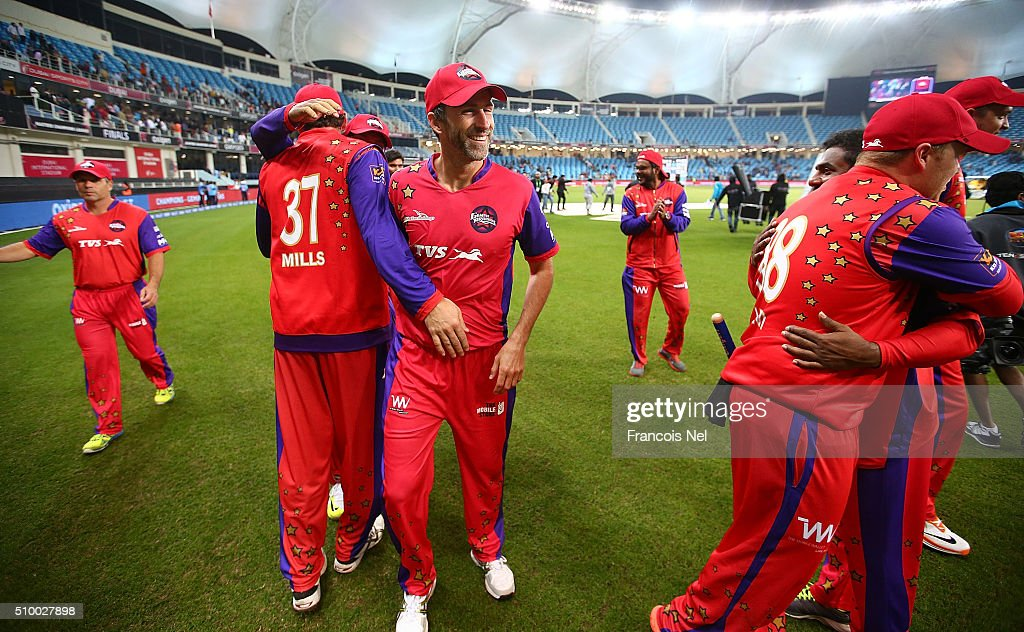 <a gi-track='captionPersonalityLinkClicked' href=/galleries/search?phrase=Graham+Onions&family=editorial&specificpeople=691130 ng-click='$event.stopPropagation()'>Graham Onions</a> of Gemini Arabians and his team-mates celebrate victory at the end of the match during the Final match of the Oxigen Masters Champions League between Gemini Arabians and Leo Lions at the Dubai International Cricket Stadium on February 13, 2016 in Dubai, United Arab Emirates.