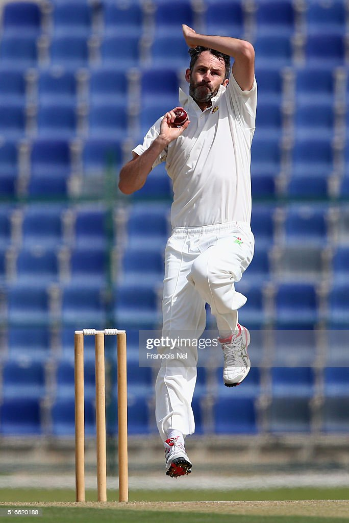 Graham Onions of MCC bowls during day one of the Champion County match between Marylebone Cricket Club and Yorkshire at Sheikh Zayed stadium on March...