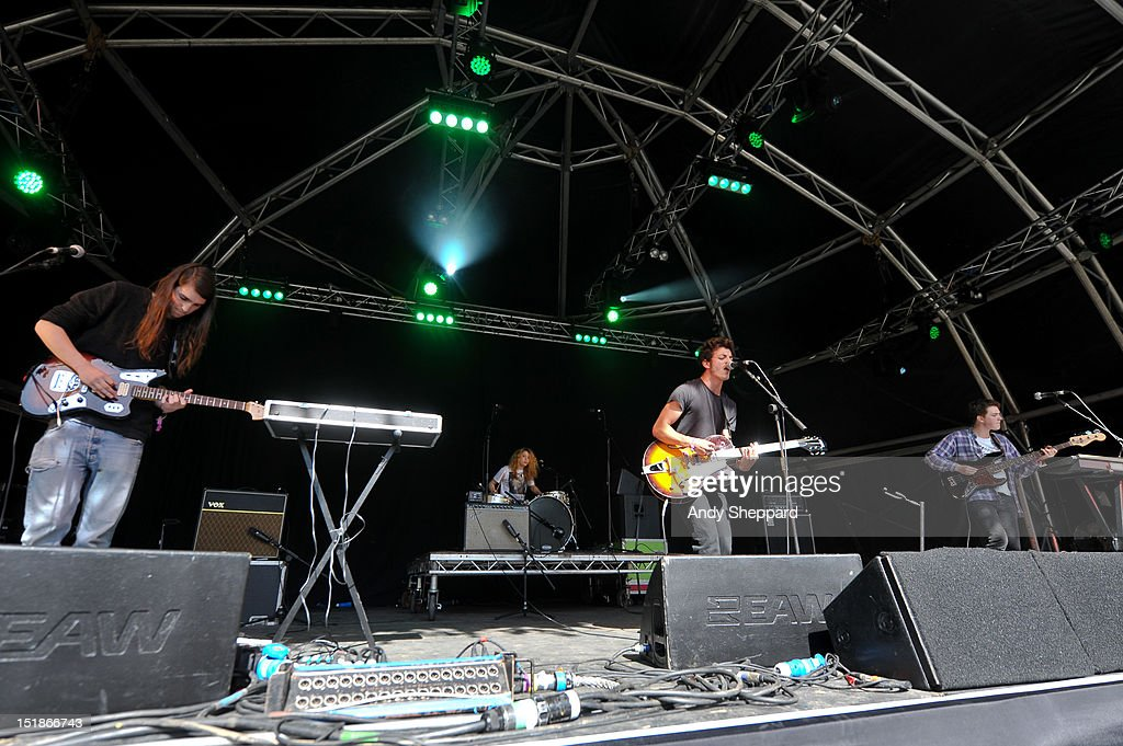 Graham Poole, Zealah Izabella Anstey, Jacob Scott and Matthew Bishop of the band Pale Seas perform on stage during End Of The Road Festival 2012 at Larmer Tree Gardens on August 31, 2012 in Salisbury, United Kingdom.