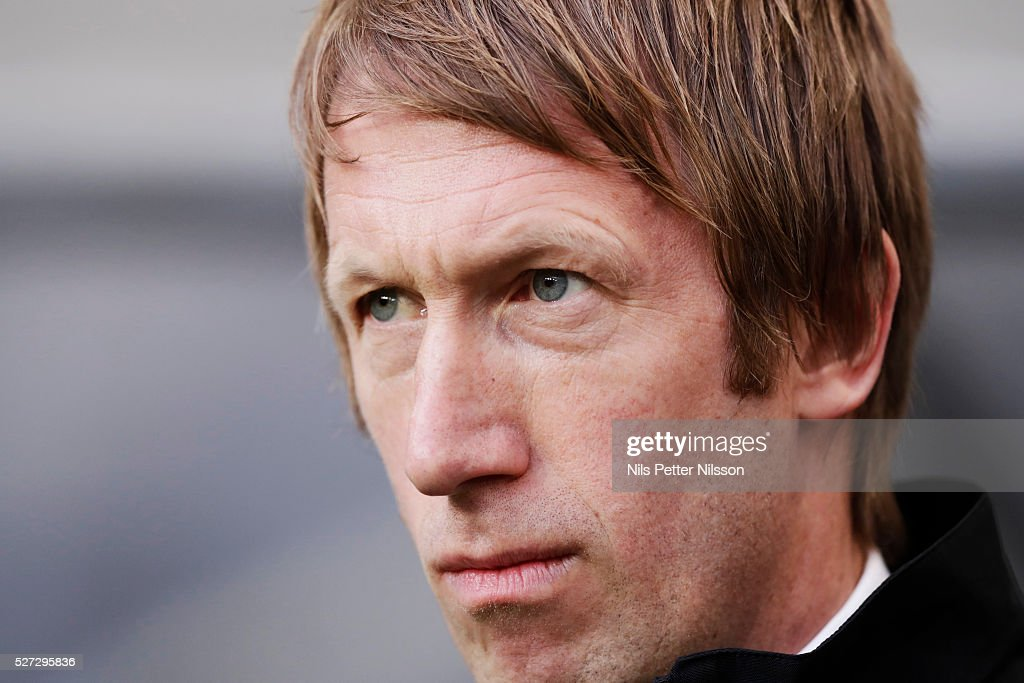 Graham Potter, head coach of Ostersunds FK during the Allsvenskan match between Djurgardens IF and Ostersunds FK at Tele2 Arena on May 2, 2016 in Stockholm, Sweden.