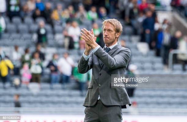 Graham Potter head coach of Ostersunds FK during the Allsvenskan match between Hammarby IF and Ostersunds FK at Tele2 Arena on August 14 2017 in...