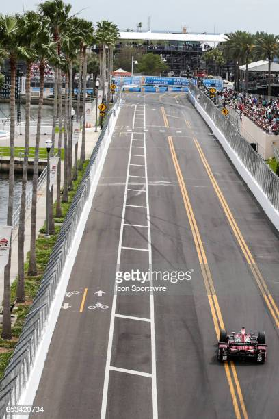 Graham Rahal driver of the Steak n Shake Rahal Letterman Lanigan Racing Honda race down a straight during the Firestone Grand Prix of St Petersburg...