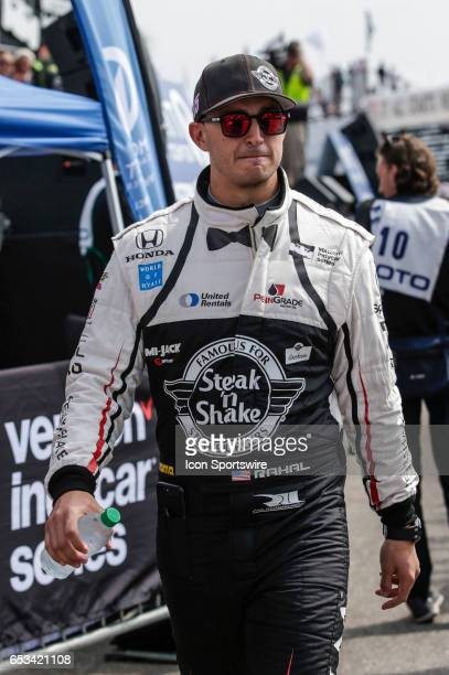 Graham Rahal driver of the Steak n Shake Rahal Letterman Lanigan Racing Honda during driver introductions prior to the Firestone Grand Prix of St...