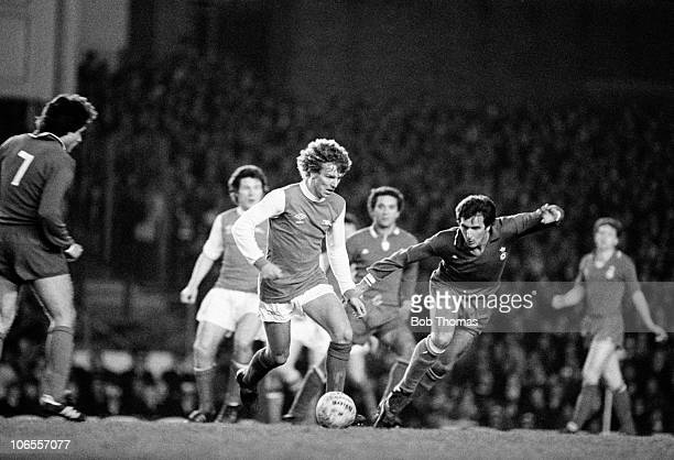 Graham Rix of Arsenal on the ball closely watched by Juventus defender Gaetano Scirea during the UEFA European Cup Winners Cup SemiFinal 1st leg at...