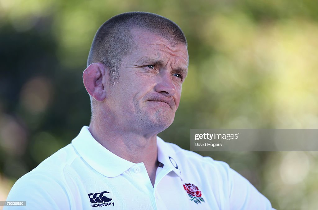 Graham Rowntree the England forwards coach faces the media during the England media session held at Pennyhill Park on June 30 2015 in Bagshot England