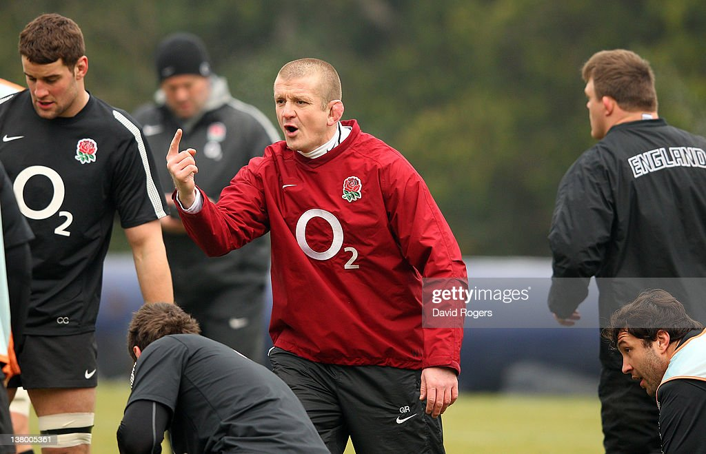 Graham Rowntree the England forwards coach issues instructions during the England training session held at Pennyhill Park on January 31 2012 in...